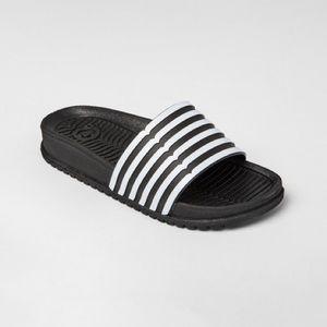 NWT Hunter for Target Black Striped Slide Sandals
